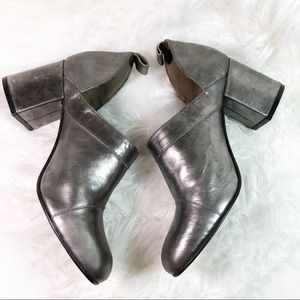 Fly London Shoes - Fly London Leather Chunky Booties Silver Sz 8/8.5